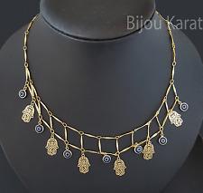 Nazar Fatimas Hand Halskette Kette Bettelkette 18 Karat Gold GP Hamza Fatima Eye