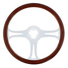 "18"" Real Wood Steering Wheel Rim ""Blade"" with 3 Chrome Spokes"