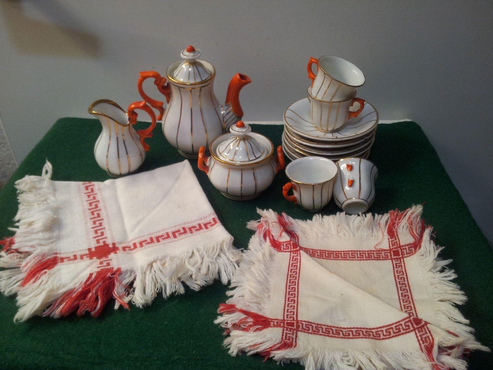 Antike deutsche puppe teeservice   tischdecke & 4 servietten