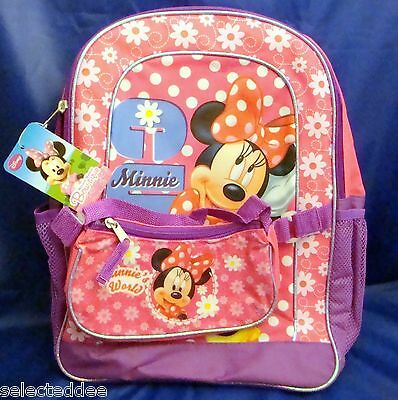 Disney Minnie Mouse Girls Pink Purple Floral School Back Pack  with Bonus Purse