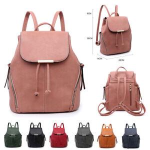 Girls-Ladies-Zips-Backpack-Faux-Leather-Rucksack-Shoulder-Bag-Handbag-MA36556