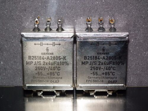 glass end seal Two vintage Siemens PIO capacitors 2x4 uF 250V Klangfilm