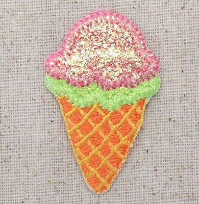 Iron On Embroidered Applique Patch Sparkle Lime Green Pink Ice Cream Waffle Cone