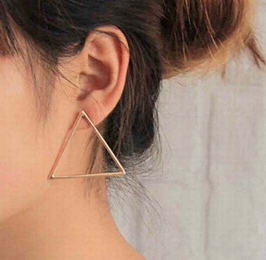 1 Pair Personality Punk Triangle Style Hollow Alloy Lady Stud Earrings Oh!