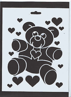 Plastic/PVC/Coated/Paper/Stencil/Teddy/Bear/Heart/Hearts/Design/NEW