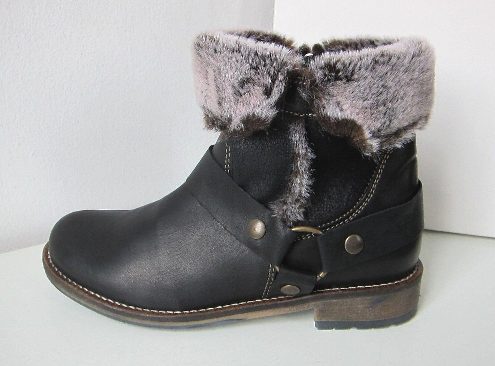 Tamaris Stiefel Stiefelette Fell schwarz Gr. 38 leather Stiefel Stiefelee schwarz
