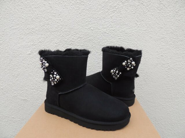 e5db95dce86 UGG Mini Bailey Bow Brilliant Black Bling Suede Sheepskin BOOTS Size 9 US