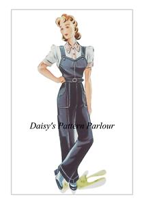 VINTAGE 1940 Sewing Pattern Salopette Lavoro Daisys LAND Esercito il sistema di HASLAM