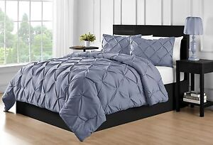 Durable Stitching 3-piece Full Queen /& King Pinch Pleat Comforter Set in Black