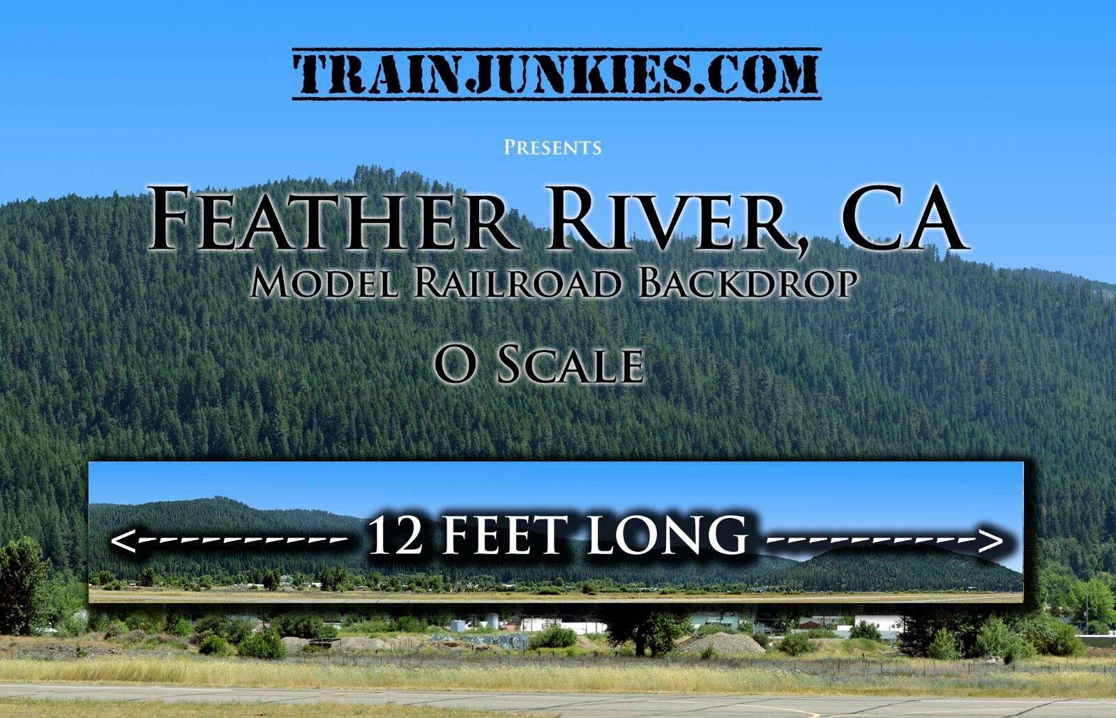 TrainJunkies O Scale Feather River Mountain modellolo Railstrada Backdrop 24x144