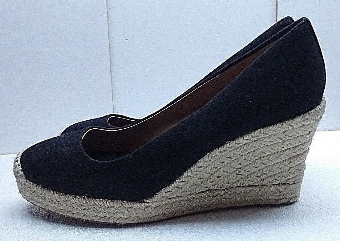 J. Crew Factory Seville Women Canvas bluee Wedge Espadrille Slip On shoes 9M 40,5