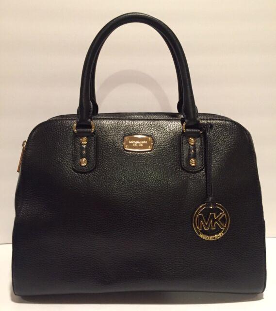 Michael Kors Sandrine Large Satchel Purse Handbag Leather Black 398 Nwt