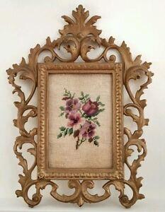 Antique Gilt Metal Cast Iron Baroque Picture Frame Old  Linen Needlework Framed