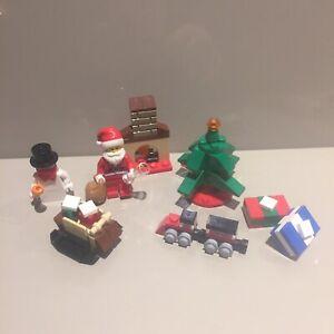 LEGO-Fascio-di-Natale-Babbo-Natale-Pupazzo-di-neve-minifigura-Albero-Regali-Giocattoli-Treno-camino