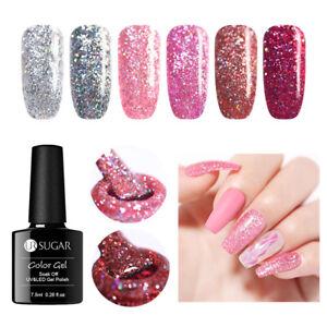 UR-SUGAR-7-5ml-Holografisch-Gellack-Gel-Nail-Polish-Rose-Gold-Soak-Off-UV-Gel