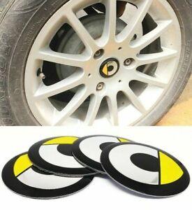 Set 4 Coprimozzo Adesivi Logo Stemma Per SMART Fortwo Forfour Roadster 450 56 mm