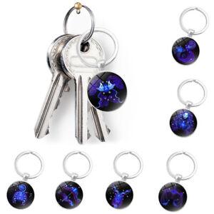 12-Constellation-Zodiac-Sign-Round-Glass-Pendant-Key-Ring-Chain-Keychain-Decor