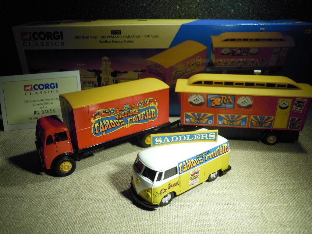 CORGI 31702  ERF Box Van-showman 's Caravan-VW Van  saddlers , NOUVEAU & NEUF dans sa boîte
