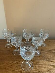 SET-OF-6-Indiana-Glass-DIAMOND-POINT-CLEAR-5-1-4-034-Wine-Glasses-EUC