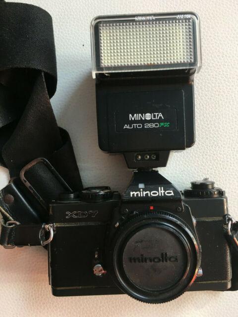 Minolta XD-7 Body Gehäuse SLR Kamera Spiegelreflexkamera schwarz mit Blitz