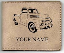 Ford F1 Pickup Leather Billfold With Drawing & Your Name On It-Nice Quality