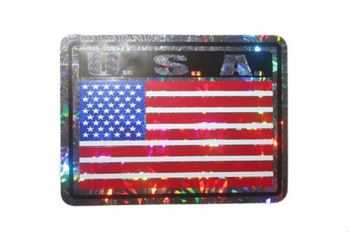 USA COUNTRY FLAG  METALLIC BUMPER STICKER DECAL . 4 X 3 INCH