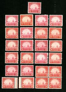 US-Stamps-698-F-VF-VF-Lot-of-25-OG-NH-Scott-Value-312-00