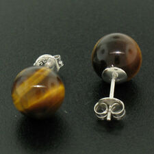 NEW Sterling Silver 10mm Tiger's Eye Ball Stud Earrings Classic Simple Elegant