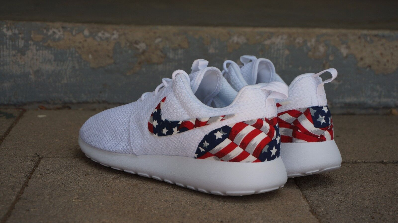 New Nike Roshe Run Custom American Flag Red White Blue Edition Men Comfortable Special limited time