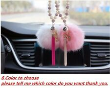 Pink Car Rear View Mirror Pendant Interior Pearl Decor Hanging Ornament