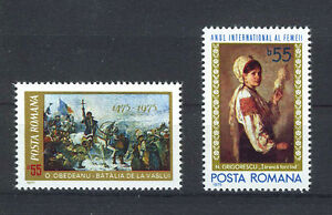 RUMANIA-ROMANIA-1975-MNH-SC-2539-2540-Womens-Year-and-Battle-of-the-Hight-Bridge