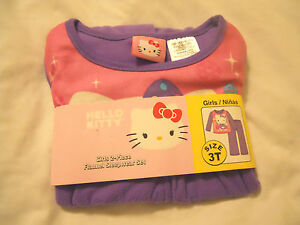 Sleepwear Hello Kitty Sleepwear Set 3t Girls Flannel Pajamas Clothing, Shoes & Accessories
