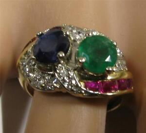 Women-Engagement-3-3CT-Sapphire-Colombian-Emerald-Diamond-Ruby-14K-Yellow-Gold