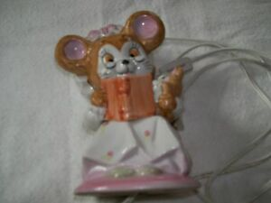 Vintage Halo Mouse reading to baby night light/lamp cute