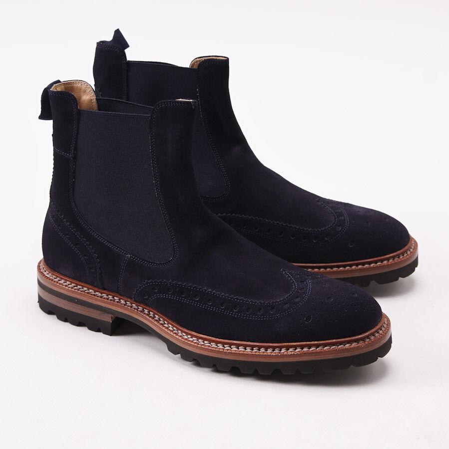 Nuevo En Caja  KITON Navy azul Suede brogued punta del ala botas al Tobillo Zapatos US 7