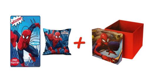 enfants tabouret avec fonction de rétention Marvel SPIDERMAN Coussin /& Polaire-Couverture