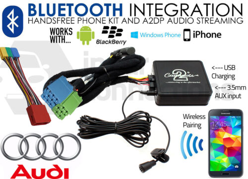Audi A4 1997-2006 Bluetooth streaming de música manos libres Kit de coche Usb Aux Mp3 Iphone
