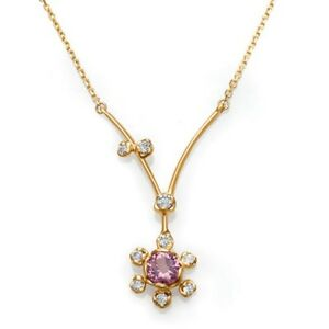 NEW-14k-YELLOW-GOLD-DIAMOND-AND-PINK-TOURMALINE-FLOWER-PENDANT-NECKLACE