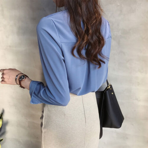 Plus Size Women Shirt  Loose Casual Solid V-Neck Blouse Women Long Sleeve To X/_D