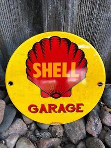 VINTAGE SHELL GARAGE PUMP PLATE CUT DIE PORCELAIN ENAMEL OIL GAS STATION AD SIGN