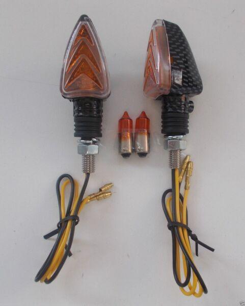 Frecce Carbon Corte Omologate 62x31 + Lampadine Ricambio Per Moto Honda We Hebben Lof Van Klanten Verdiend