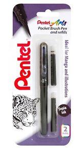 Pentel-Bolsillo-Pluma-Pincel-amp-2-recargas-Arte-Color-pigmento-Negro