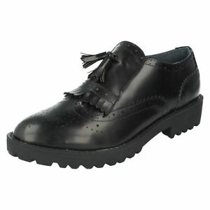 Spot On F9r819 Femmes Noir Chaussures Avec Lacets (r7a)-afficher Le Titre D'origine