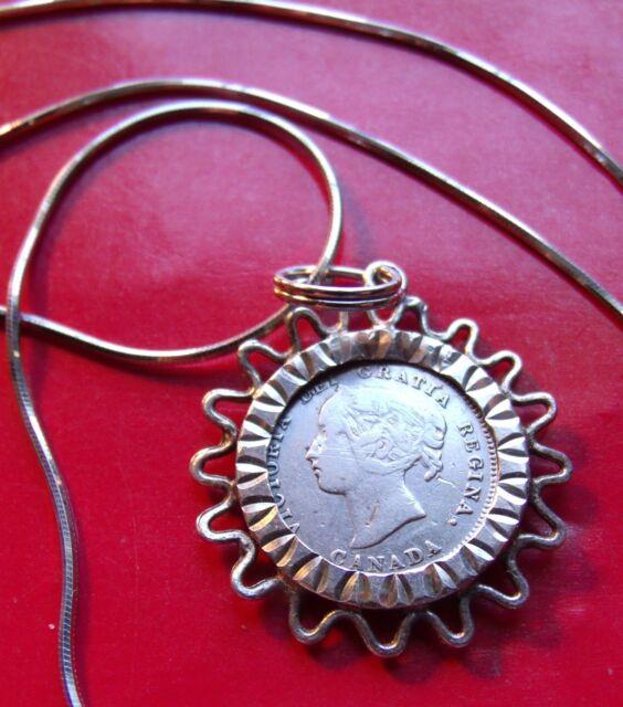 1899 Canada 5c  Victorian Silver Coin Bezel Pendant on 20