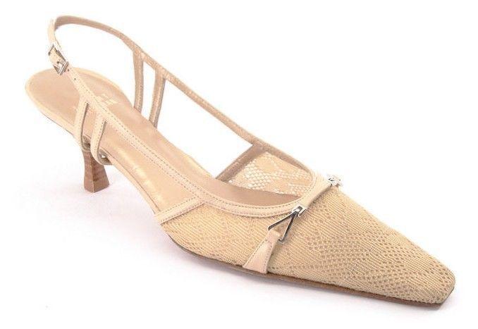 New STUART WEITZMAN Donna Mesh Tan Slingback Slingback Slingback Pump Pointy Toe Heel Shoe Sz 8 N ad831d