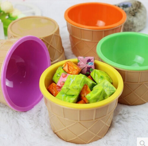 HOT Ice Cream Bowl Spoon Set Kids Plastic Bowl Home Decoration DIY Xmas Gift