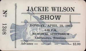 JACKIE-WILSON-1965-TOUR-UNUSED-CHATTANOOGA-AUDITORIUM-CONCERT-TICKET-NM-2-MNT