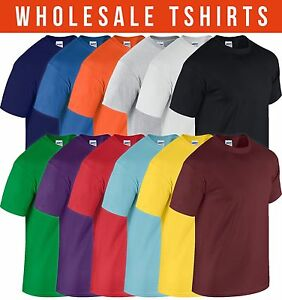 Wholesale lot mens gildan soft cotton t shirt all sizes for Where can i buy t shirts in bulk for cheap