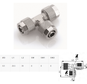 T-Verschraubung Schlauch 5//3 mm Verbinder Pneumatik Druckluft Typ CK