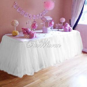 2pcs Wedding TUTU Table Skirt Baby Shower Birthday Table Decoration 80cmx100cm